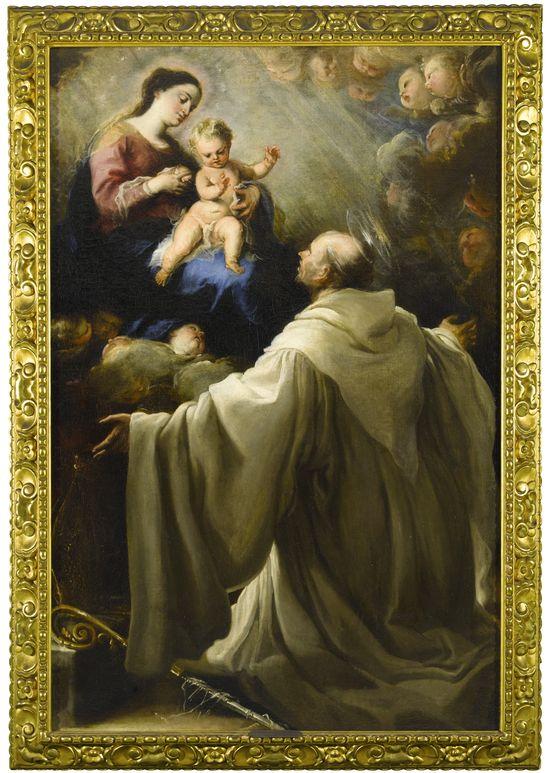 Lot 555, Juan Carreno De Miranda, The Virgin Lactans With Saint Bernard