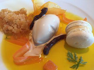 Velo de pistilos de azafrán con tierno de macarron y helado de flores de té 2015