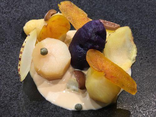 Arlequín de papas, salsa de café y sabores mediterráneos, de Mauro Colagreco en un gesto de fusión de culturas