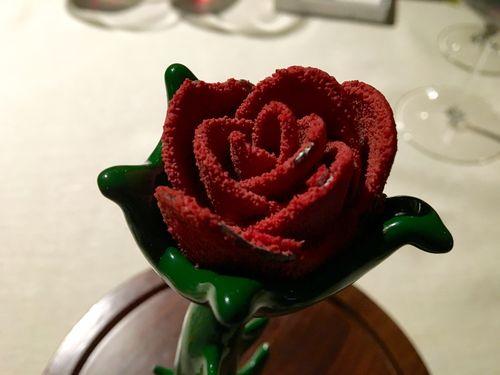 Final del menú. Segunda y última flor con chocolate