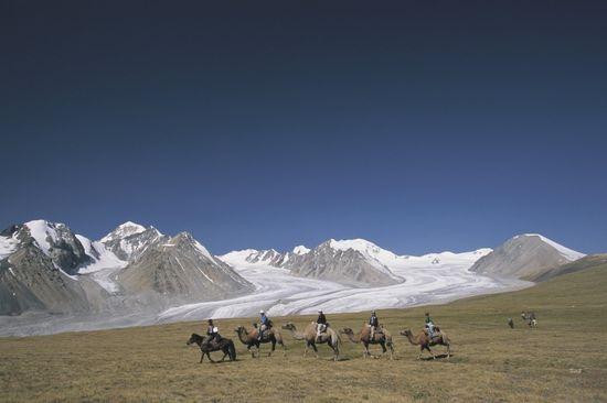 Caravana de camellos bactrianos en las montañas Altai, en Mongolia  TOPIC PHOTO AGENCY