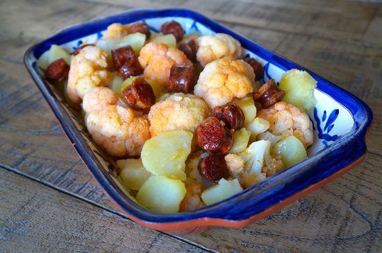 Coliflor patatas chorizo