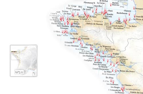 Mapa faros de Bretaña