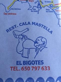 Mantel de papel con la situación de el chiringuito El Bigotes