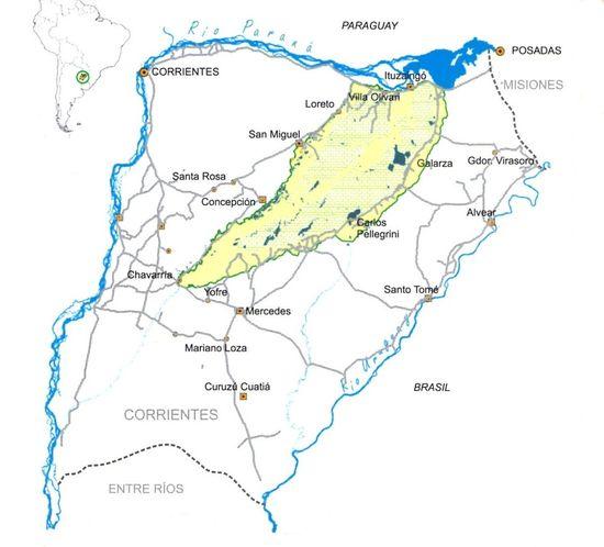 Mapa de Corrientes y los esteros del Iberá