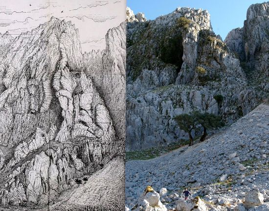 Tajo de Verner - sketch and recent photo