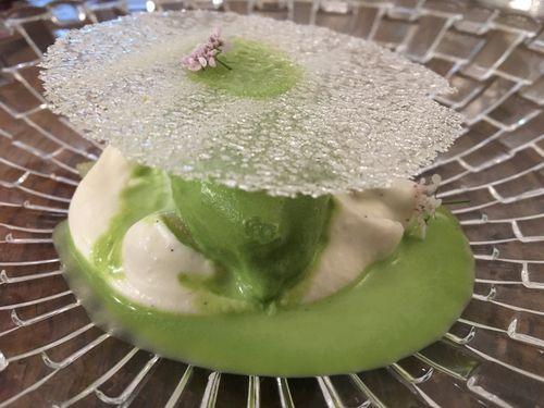 Maíz con leche y helado de cilantro de Mauro Colagreco