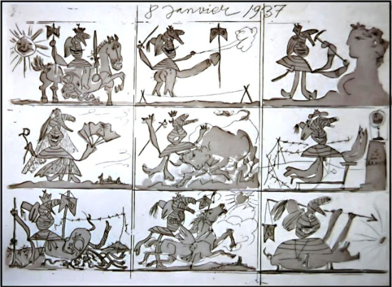 Pablo-Picasso-Sueno-y-mentira-de-Franco-Aguafuerte-y-aguatinta-al-azucar-con-raspado