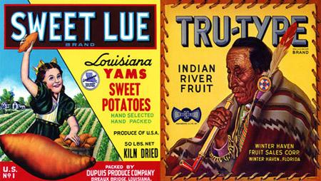 Etiquetas antiguas de frutas y verduras